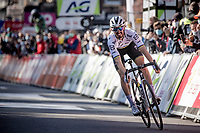 World Champion Julian Alaphilippe (FRA/Deceuninck - QuickStep) crossing the finish line 2nd (again) in Liège<br /> <br /> 107th Liège-Bastogne-Liège 2021 (1.UWT)<br /> 1 day race from Liège to Liège (259km)<br /> <br /> ©kramon