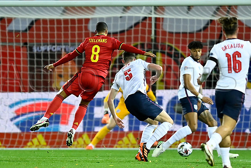 15th November 2020; Leuven, Belgium;  Youri Tielemans midfielder of Belgium scoring the opening goal during the UEFA Nations League match group stage final tournament - League A - Group 2 between Belgium and England