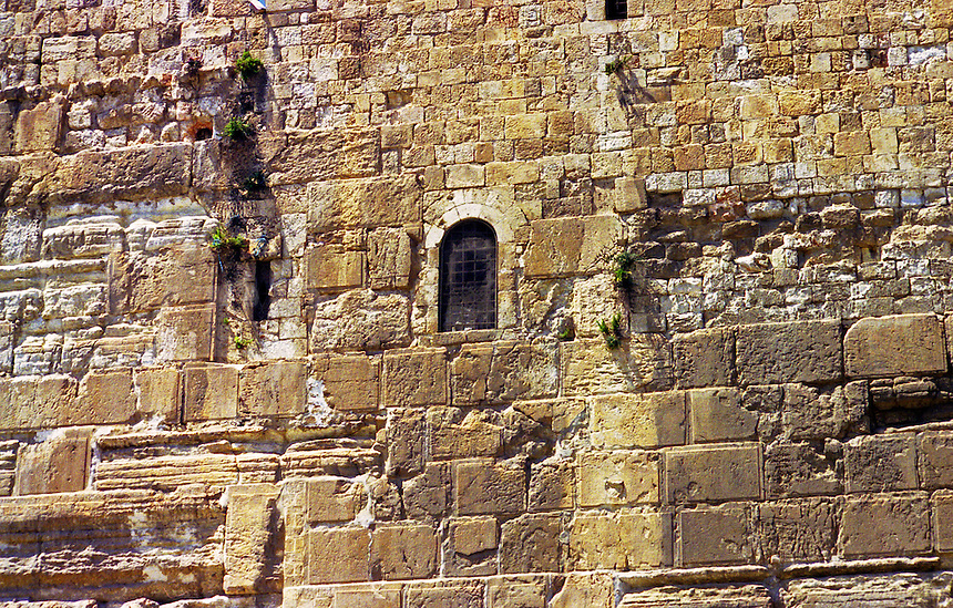 Doorway 50 feet in the air in eastern wall (the other side from the wailing wall) of the temple mount, old city, Jerusalem, Israel.