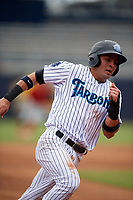 Tampa Tarpons third baseman Angel Aguilar (7) runs the bases during a game against the Clearwater Threshers on April 22, 2018 at George M. Steinbrenner Field in Tampa, Florida.  Tampa defeated Clearwater 2-1.  (Mike Janes/Four Seam Images)