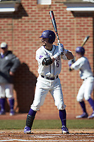 Joe Johnson (15) of the High Point Panthers at bat against the Bryant Bulldogs at Williard Stadium on February 21, 2021 in  Winston-Salem, North Carolina. The Panthers defeated the Bulldogs 3-2. (Brian Westerholt/Four Seam Images)