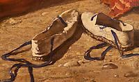 Europe/France/Aquitaine/64/Pyrénées-Atlantiques/Pays-Basque/Bayonne: Musée Basque _ Basquaises aprés le bain par Jules Jacques Veyrassat 1870 - Détail des espadrilles