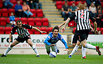 St Johnstone v Dunfermline... 13.08.11   SPL Week 4.Fran Sandaza is brough down by John Potter for a penalty.Picture by Graeme Hart..Copyright Perthshire Picture Agency.Tel: 01738 623350  Mobile: 07990 594431