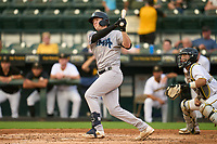 Tampa Tarpons Tyler Hardman (17) hits a double during Game One of the Low-A Southeast Championship Series against the Bradenton Marauders on September 21, 2021 at LECOM Park in Bradenton, Florida.  (Mike Janes/Four Seam Images)