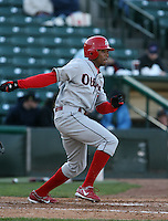 2007:  Chris Roberson of the Ottawa Lynx follows through during an at bat vs. the Rochester Red Wings in International League baseball action.  Photo By Mike Janes/Four Seam Images