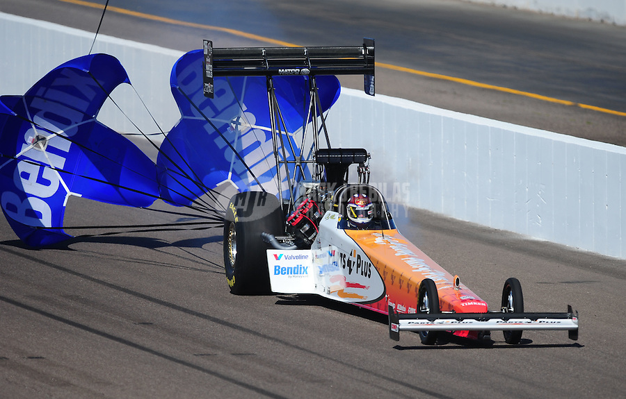 Feb. 18, 2012; Chandler, AZ, USA; NHRA top fuel dragster driver Clay Millican during qualifying for the Arizona Nationals at Firebird International Raceway. Mandatory Credit: Mark J. Rebilas-
