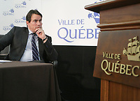 Pierre-Karl Peladeau, CEO of Quebecor, take part into a press conference with Quebec city mayor Regis Labeaume, not in the photo, at the City hall in Quebec city, Tuesday March 1, 2011. Paladeau and Labeaume discussed the details of Quebecor investment as private partner in a new arena.<br /> <br /> PHOTO :  Francis Vachon - Agence Quebec Presse
