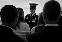 Washington DC, USA, October 23, 2008.Arlington Cemetery, in the heart of Washington, where more than 300000 US soldiers, officers or politicians are buried..Sergeant Neal of the US Army briefs high school students participating to a ceremony on the Unknown Soldier memorial.