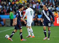 Landon Donovan of USA yells at team-mate Francisco Torres