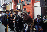 Notting Hill Carnival 1976 London. Black teens dancing.