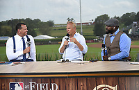 DYERSVILLE, IOWA - AUGUST 12: Fox MLB Pregame broadcasters Alex Rodriguez and David Ortiz with guest Kevin Costner at the Fox broadcast of the MLB Field of Dreams game on August 12, 2021 in Dyersville, Iowa. (Photo by Frank Micelotta/Fox Sports/PictureGroup)