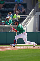 Boston Red Sox Marwin Gonzalez (12) bats during a Major League Spring Training game against the Minnesota Twins on March 17, 2021 at JetBlue Park in Fort Myers, Florida.  (Mike Janes/Four Seam Images)