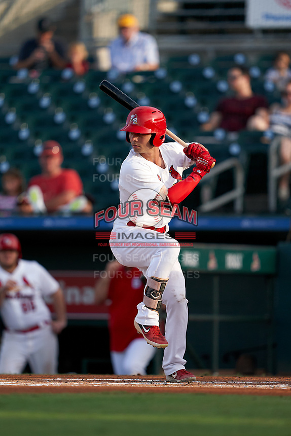 Palm Beach Cardinals Scott Hurst (7) bats during a Florida State League game against the Clearwater Threshers on August 9, 2019 at Roger Dean Chevrolet Stadium in Jupiter, Florida.  Palm Beach defeated Clearwater 3-0 in the second game of a doubleheader.  (Mike Janes/Four Seam Images)