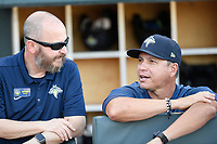 Manager Pedro Lopez (16), right, and President John Katz of the Columbia Fireflies before a game against the Lexington Legends on Friday, June 14, 2019, at Segra Park in Columbia, South Carolina. Lexington won, 5-1. (Tom Priddy/Four Seam Images)
