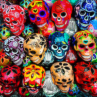 Colorfully decorated clay skulls (Calaveras) are seen on a local marketplace before the start of the Day of the Dead (Día de Muertos) celebrations in Mexico City, Mexico, 28 October 2016.