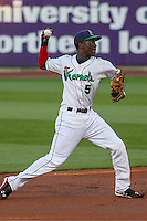 Cedar Rapids Kernels shortstop Nick Gordon (5) throws to fist base during game five of the Midwest League Championship Series against the West Michigan Whitecaps on September 21st, 2015 at Perfect Game Field at Veterans Memorial Stadium in Cedar Rapids, Iowa.  West Michigan defeated Cedar Rapids 3-2 to win the Midwest League Championship. (Brad Krause/Four Seam Images)