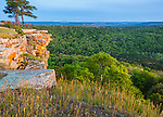 Petit Jean State Park, AR:  Lichen covered sandstone cliffs from Cedar Creek Canyon Overlook on Red Bluff Drive