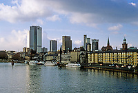Frankfurt:  View from Alte Brucke, Banking Quarter & Romer Quarter.  Photo '87.