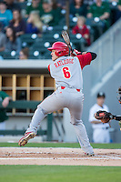 Logan Ratledge (6) of the North Carolina State Wolfpack at bat against the Charlotte 49ers at BB&T Ballpark on March 31, 2015 in Charlotte, North Carolina.  The Wolfpack defeated the 49ers 10-6.  (Brian Westerholt/Four Seam Images)