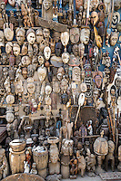 Dakar, Senegal.  Carved African Masks, for sale as Souvenirs.