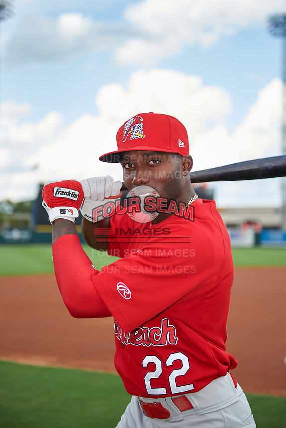 Palm Beach Cardinals Randy Arozarena (4) poses for a photo before the Home Run Derby during the Florida State League All-Star Game on June 17, 2017 at Joker Marchant Stadium in Lakeland, Florida.  FSL North All-Stars defeated the FSL South All-Stars  5-2.  (Mike Janes/Four Seam Images)