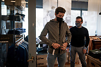 Jasper Stuyven being fitted a new wardrobe in his hometown at LEF store in Leuven<br /> <br /> march 2021<br /> <br /> ©kramon