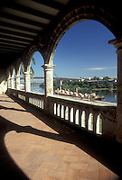 AJ2317, Dominican Republic, Santo Domingo, Caribbean, Caribbean Islands, Columbus Alcazar circa 1510 home of Columbus' son Diego looking out over the Ozama River in Santo Domingo the capital city of the Dominican Republic.
