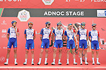 Groupama-FDJ at sign on before the start of Stage 1 of the 2021 UAE Tour the ADNOC Stage running 176km from Al Dhafra Castle to Al Mirfa, Abu Dhabi, UAE. 21st February 2021.  <br /> Picture: LaPresse/Fabio Ferrari | Cyclefile<br /> <br /> All photos usage must carry mandatory copyright credit (© Cyclefile | LaPresse/Fabio Ferrari)