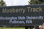 Washington State's Mooberry Track sign photographed during the Cougars dual track and field meet with arch-rival Washington in Pullman, Washington, on May 1, 2010.