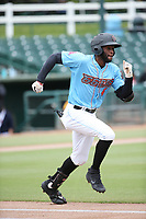 Torii Hunter jr. (4) of the Inland Empire 66ers runs to first base during a game against the Stockton Ports at San Manuel Stadium on May 26, 2019 in San Bernardino, California. (Larry Goren/Four Seam Images)