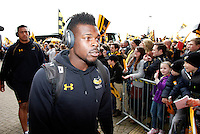 Photo: Richard Lane/Richard Lane Photography. Wasps v Exeter Chiefs.  European Rugby Champions Cup Quarter Final. 09/04/2016. Wasps' Christian Wade arrives at the Ricoh Arena.