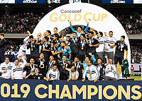 CHICAGO, IL - JULY 7: Mexican team celebrates their gold cup victory during a game between Mexico and USMNT at Soldier Field on July 7, 2019 in Chicago, Illinois.