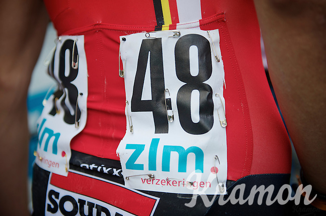 Tim Wellens (BEL/Lotto-Belisol) shure knows how to pin down a race number<br /> <br /> Ster ZLM Tour 2014<br /> stage 4: Hotel Verviers - La Gileppe (187km)
