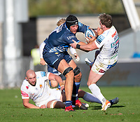 3rd October 2021; AJ Bell stadium, Eccles, Greater Manchester, England: Gallagher Premiership Rugby, Sale v Exeter ;  J-P du Preez of Sale Sharks half tackled by  Stuart Hogg of Exeter Chiefs