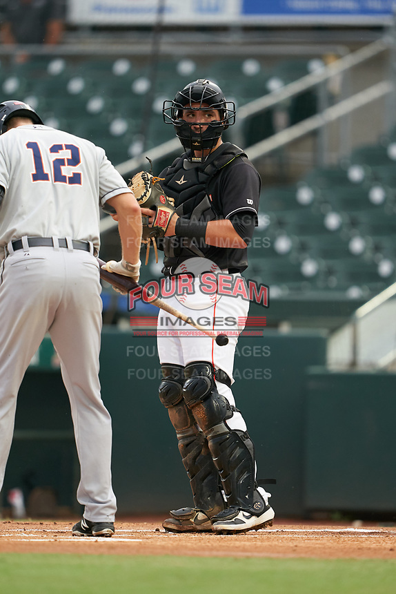 Jupiter Hammerheads catcher Nick Fortes (7) during a Florida State League game against the Lakeland Flying Tigers on August 12, 2019 at Roger Dean Chevrolet Stadium in Jupiter, Florida.  Jupiter defeated Lakeland 9-3.  (Mike Janes/Four Seam Images)