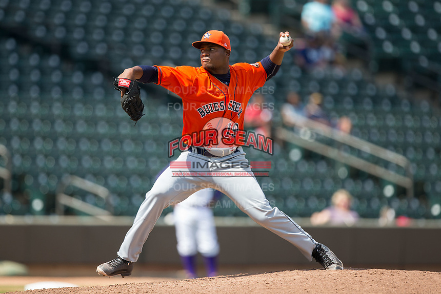 Buies Creek Astros starting pitcher Framber Valdez (19) in action against the Winston-Salem Dash at BB&T Ballpark on April 16, 2017 in Winston-Salem, North Carolina.  The Dash defeated the Astros 6-2.  (Brian Westerholt/Four Seam Images)