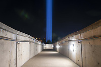 """The """"Towers of Light"""" display illuminates the night sky, honoring those who lost their lives in the attacks of Sept. 11, 2001, the Pentagon, Washington, D.C., September 9, 2021. <br /> CAP/MPI/RS<br /> ©RS/MPI/Capital Pictures"""