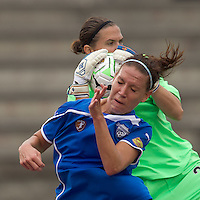 Boston Breakers forward Lauren Cheney (8) header thwarted by Sky Blue FC goalkeeper Jenni Branam (23). In a Womens Professional Soccer (WPS) match, the Boston Breakers defeated Sky Blue FC, 2-0, at Harvard Stadium on August 14, 2011 and gained the last playoff slot.