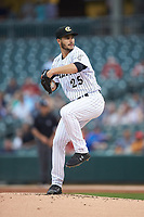 Charlotte Knights starting pitcher Dylan Cease (25) in action against the Toledo Mud Hens at BB&T BallPark on April 25, 2019 in Charlotte, North Carolina. The Mud Hens defeated the Knights 11-7. (Brian Westerholt/Four Seam Images)