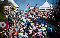 peloton up the infamous Mur de Huy (1300m/9.8%)<br /> <br /> Flèche Wallonne 2016