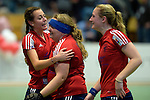 GER - Luebeck, Germany, February 06: After the 1. Bundesliga Damen indoor hockey semi final match at the Final 4 between Berliner HC (blue) and Duesseldorfer HC (red) on February 6, 2016 at Hansehalle Luebeck in Luebeck, Germany. Final score 1-3 (HT 0-1). (Photo by Dirk Markgraf / www.265-images.com) *** Local caption *** (L-R) Selin Oruz #14 of Duesseldorfer HC, Sabine Markert #6 of Duesseldorfer HC