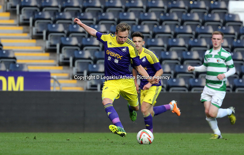 Thursday, 16 April 2014<br /> Pictured: Ryan Hedges of Swansea takes a shot at goal.<br /> Re: FAW Youth Cup Final, Swansea City FC v The New Saints FC at the Liberty Stadium, south Wales,