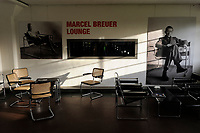 GERMANY, Dessau - Rosslau, famous Bauhaus, built 1925 - 1926 according the planning of  Walter Gropius as building for the Bauhaus school for architecture , art and design, Marcel Breuer loung with design chairs