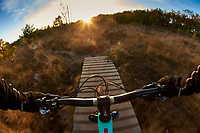 Steve Behr riding a Marin Rift Zone mountain bike .  Renthal handlebars . Chobham Common , Surrey. November 2017