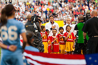 United States (USA)  starting eleven during the playing of the national anthem. The women's national team of the United States defeated the Korea Republic 5-0 during an international friendly at Red Bull Arena in Harrison, NJ, on June 20, 2013.