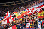 Supporters of Atletico Madrid wave flags during their 2016-17 UEFA Champions League match between Atletico Madrid vs FC Bayern Munich at the Vicente Calderon Stadium on 28 September 2016 in Madrid, Spain. Photo by Diego Gonzalez Souto / Power Sport Images