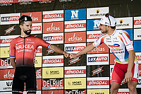 Niccolò Bonifazio (ITA/TotalEnergies) wins the 55th Grote Prijs Jef Scherens - Rondom Leuven 2021 (BEL), while Nacer Bouhanni (FRA/Arkéa-Samsic) is the runner-up<br /> <br /> One day race from Leuven to Leuven (190km)<br /> ridden over the final circuit of the 2021 World Championships road races <br /> <br /> ©kramon