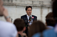 """Ed Miliband MP (British Labour Party Member of Parliament for Doncaster North; former Leader of the British Labour Party and Leader of the Opposition between 2010 and 2015).<br /> <br /> London, 21/06/2016. Today, hundreds of people gathered in Trafalgar Square to hold a demonstration in support with the """"Stay In the EU/Remain in the EU"""" campaigns ahead of the EU referendum which will be held in Great Britain the 23rd of June 2016. From the organiser Facebook page: <<[…] Thursday's vote is about much more than the tangible benefits of our membership in the EU, it's about the kind of country we want to live in and the kind of future we want to see. […] Let's come together to promote the values that define our generation and make sure we vote Remain on June 23rd>>.<br /> <br /> For more information please click here: https://www.facebook.com/events/1726890050917017/?active_tab=highlights"""