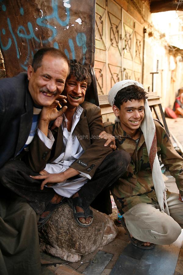 Sanaa, capitale moyen âgeuse du Yemen. Les rues du souk juste avant les fêtes de l'Aid