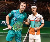 Rotterdam, The Netherlands, 14 Februari 2019, ABNAMRO World Tennis Tournament, Ahoy, quarter final, Kei Nishikori (JPN) - Marton Fucsovics (HUN),<br /> Photo: www.tennisimages.com/Henk Koster